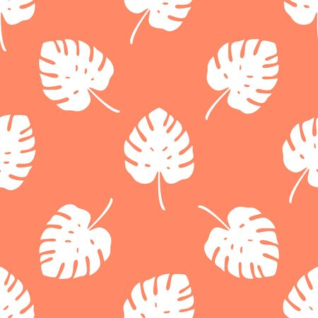 Tropical pattern with monstera leaves on orange background. Vector illustration of summer. Seamless exotic wallpaper. For web, banners, scrapbooking, printing on fabric, wrapping paper, packaging.