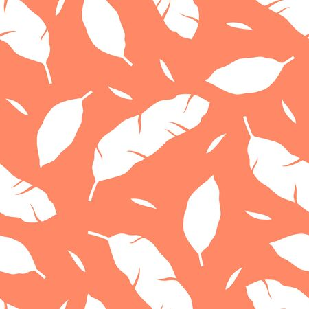Tropical pattern with leaves on orange background. Vector illustration of summer. Monochrome seamless exotic wallpaper. For web, banners, scrapbooking, printing on fabric, wrapping paper, packaging.