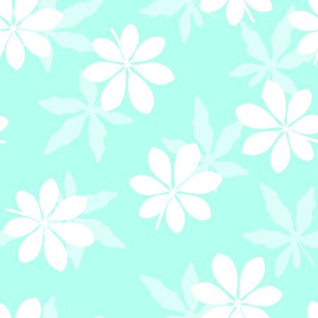 Tropical pattern with leaves on blue background. Vector illustration of summer. Monochrome seamless exotic wallpaper. For web, banners, scrapbooking, printing on fabric, wrapping paper, packaging.