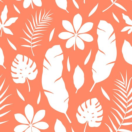 Tropical pattern with different leaves on orange background. Vector illustration. Monochrome seamless exotic wallpaper. For web, banners, scrapbooking, printing on fabric, wrapping paper, packaging.