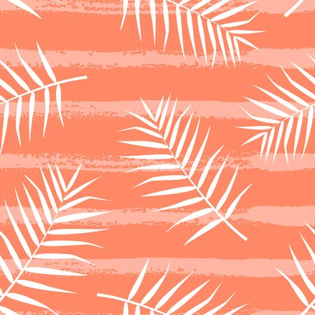 Tropical pattern with palm leaves on orange background. Vector illustration of summer. Seamless exotic wallpaper with hand drawn lines. For web, banners, printing on fabric, wrapping paper, packaging.