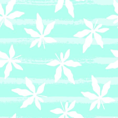 Tropical pattern with leaves on blue background. Vector illustration of summer. Seamless exotic wallpaper with hand drawn lines. For web design, banners, printing on fabric, wrapping paper, packaging. Stock Illustratie