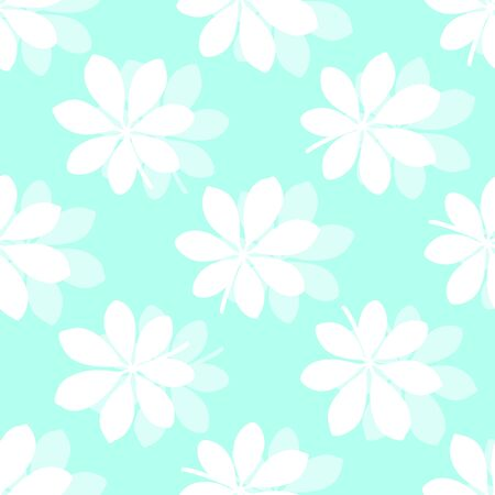 Tropical pattern with silhouettes of leaves on blue background. Vector illustration of summer. Seamless exotic wallpaper. For web design, banners, printing on fabric, wrapping paper, packaging. Stock Illustratie