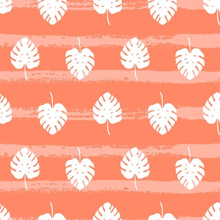 Tropical pattern with monstera leaves on orange background. Vector illustration of summer. Seamless exotic wallpaper with hand drawn lines. For banners, printing on fabric, wrapping paper, packaging. Stock Illustratie