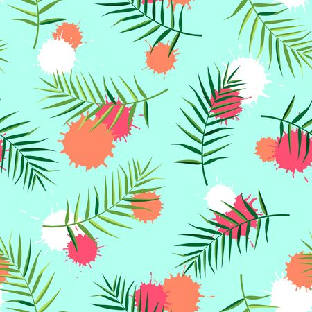 Tropical seamless pattern with palm leaves. Vector illustration of summer. Exotic wallpaper with colorful blots on blue background. For web design, banners, scrapbooking, printing on fabric, wrapping.