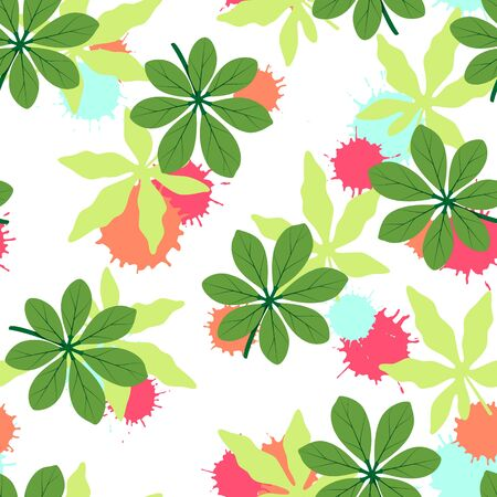 Tropical seamless pattern with green leaves. Vector illustration of summer. Exotic wallpaper with colorful blots on white background. For web, banners, scrapbooking, printing on fabric, wrapping.