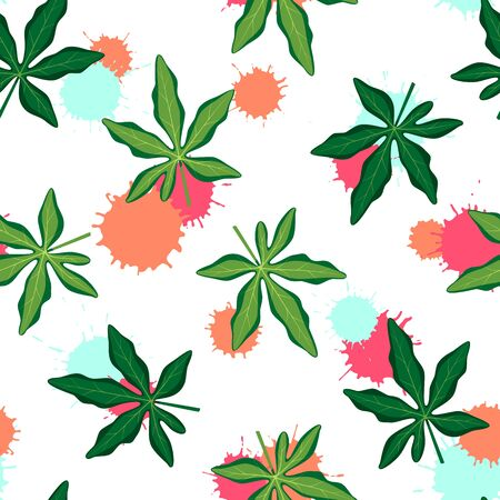Tropical seamless pattern with leaves. Vector isolated illustration of summer. Exotic wallpaper with colorful blots on white background. For web, banners, scrapbooking, printing on fabric, wrapping.