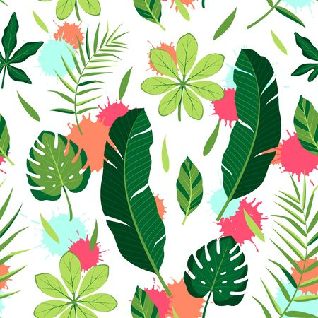 Tropical seamless pattern with different leaves. Vector isolated illustration of summer. Exotic wallpaper with blots on white background. For web, banners, scrapbooking, printing on fabric, wrapping. Stock Illustratie