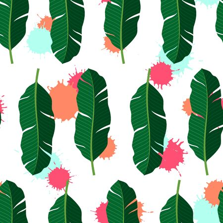 Tropical seamless pattern with palm leaves. Vector isolated illustration of summer. Exotic wallpaper with blots on white background. For web design, banners, scrapbooking, printing on fabric, wrapping Stock Illustratie