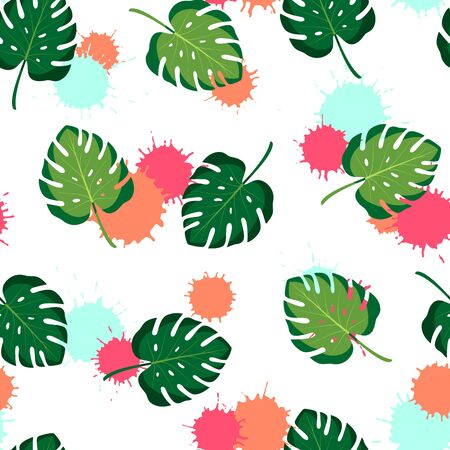 Tropical seamless pattern with monstera leaves. Vector isolated illustration of summer. Exotic wallpaper with blots on white background. For web, banners, scrapbooking, printing on fabric, wrapping. Stock Illustratie