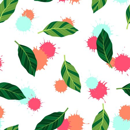 Summer seamless pattern with green leaves. Vector isolated illustration of tropical. Exotic wallpaper with blots on white background. For web, banners, scrapbooking, printing on fabric, wrapping.