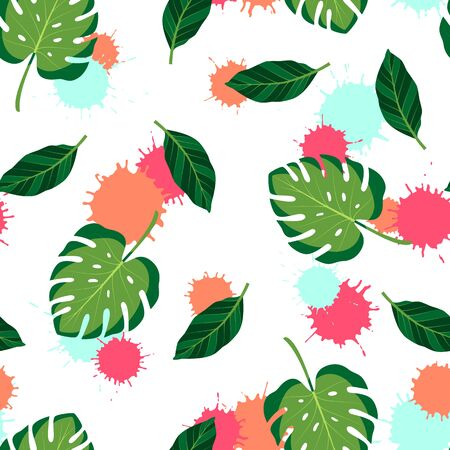 Tropical seamless pattern with monstera leaves on white background. Vector isolated illustration of summer. Exotic wallpaper with blots. For web, banners, scrapbooking, printing on fabric, wrapping. Stock Illustratie