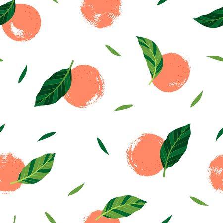 Pattern with oranges on white background. Vector isolated illustration of summer. Tropical seamless wallpaper with exotic pattern. For web design, banners, scrapbooking, printing on fabric, wrapping.