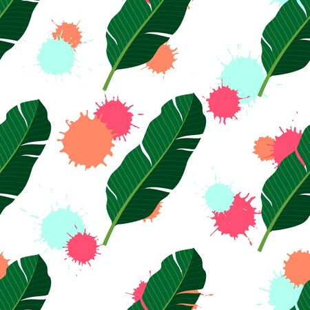 Tropical seamless pattern with palm leaves and colourful blots. Vector illustration of summer. Exotic wallpaper on white background. For web design, banners, scrapbooking, printing on fabric, wrapping