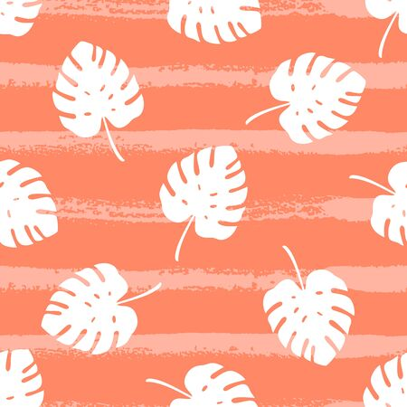 Tropical seamless pattern with silhouettes of monstera leaf. Vector illustration of summer. Exotic wallpaper on orange background. For web design, banners, scrapbooking, printing on fabric, wrapping.