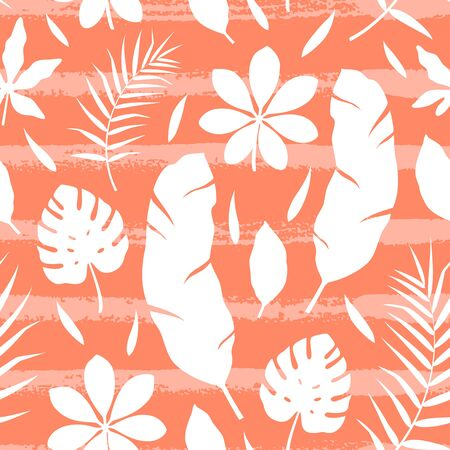 Tropical seamless pattern with silhouettes of leaf and hand drawn lines. Vector illustration of summer. Exotic wallpaper on orange background. For web design, banners, printing on fabric, wrapping. Stock Illustratie