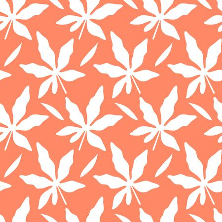 Tropical seamless pattern with silhouettes of leaf on orange background. Vector illustration of summer. Exotic wallpaper. For web design, banners, scrapbooking, printing on fabric, wrapping paper.