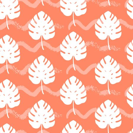 Tropical seamless pattern with silhouettes of monstera leaf on orange background. Vector illustration of summer. Exotic wallpaper. For web, banners, scrapbooking, printing on fabric, wrapping paper. Stock Illustratie