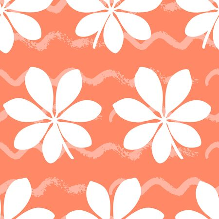 Tropical seamless pattern with large leaves on orange background. Vector illustration of summer. Exotic wallpaper with waves lines. For web, banners, scrapbooking, printing on fabric, wrapping paper.