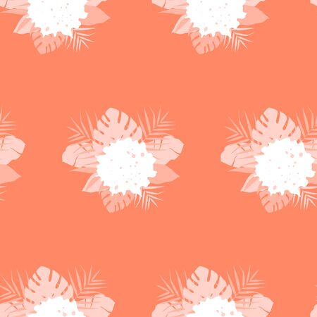 Tropical seamless pattern with composition of leaves on orange background. Vector illustration of summer. Exotic wallpaper. For web design, banners, scrapbooking, printing on fabric, wrapping paper. Stock Illustratie