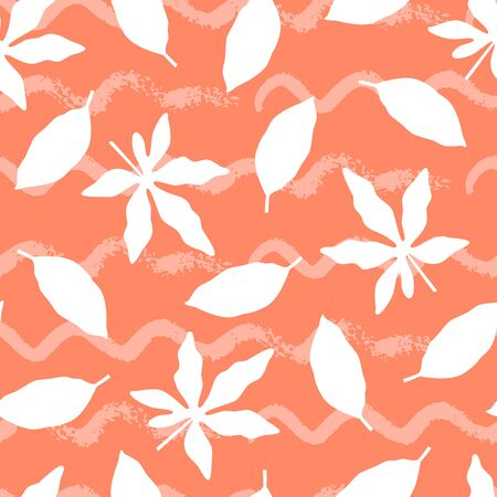 Tropical seamless pattern with leaves on orange background. Vector illustration of summer. Monochrome exotic wallpaper. For web design, banners, scrapbooking, printing on fabric, wrapping paper.