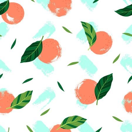 Pattern with oranges on white background. Vector isolated illustration of summer. Tropical seamless wallpaper with paint blots. For web design, banners, scrapbooking, printing on fabric, wrapping.