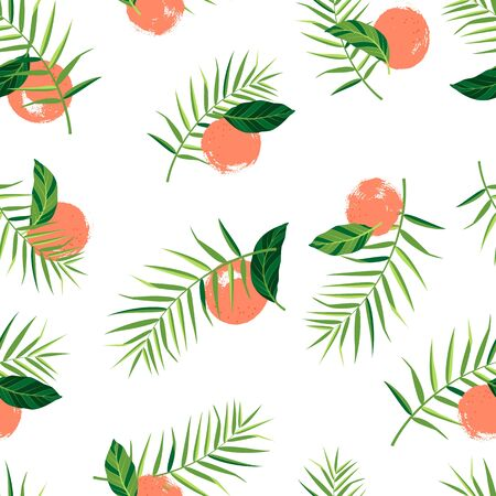 Pattern with oranges and palm leaves on white background. Vector isolated illustration of summer. Tropical seamless wallpaper. For web design, banners, scrapbooking, printing on fabric, wrapping.