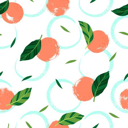 Tropical seamless pattern with oranges. Vector illustration.