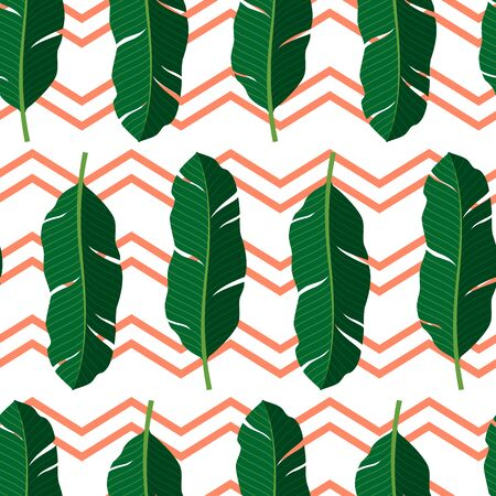 Tropical seamless pattern with leaves. Vector illustration.