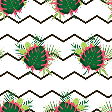 Tropical pattern with composition of leaves. Vector illustration of summer with zigzag lines on white background. Seamless exotic wallpaper. For banners, scrapbooking, printing on fabric, wrapping. Stock Illustratie