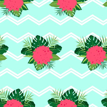 Tropical pattern with composition of leaves. Vector illustration of summer with zigzag lines on blue background. Seamless exotic wallpaper. For web, banners, scrapbooking, printing on fabric, wrapping