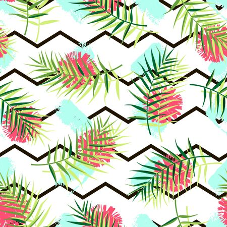 Tropical pattern with palm leaves and flowers. Vector illustration of summer with zigzag lines and paint spots on white background. Seamless exotic wallpaper. For web, printing on fabric, wrapping.