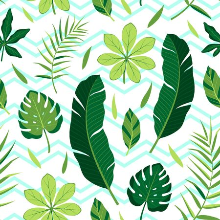Tropical pattern with different leaves. Vector illustration of summer with blue zigzag lines on white background. Seamless exotic wallpaper. For web design, banners, printing on fabric, wrapping.