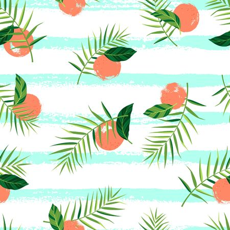 Tropical pattern with oranges, palm leaves and hand drawn lines. Vector illustration of summer on white background. Seamless exotic wallpaper. For web design, banners, printing on fabric, wrapping.