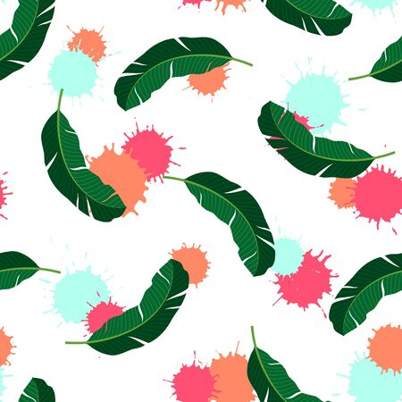 Tropical seamless pattern with palm leaves on white background. Vector isolated illustration of summer. Exotic wallpaper with blots. For web, banners, scrapbooking, printing on fabric, wrapping.