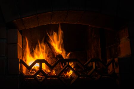 fireplace: Fire in the fireplace