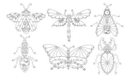 Zenart Insects Clip art in steampunk style vector Vector Illustration