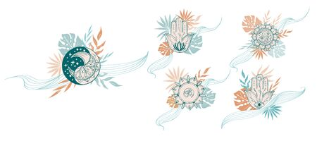 Set of abstract Yoga composition with mandala, moon, hamsa, om, tropical leaf in beige, green, terracotta colors. Indian linear floral illustration. Vector template for postcard, t-shirt design.