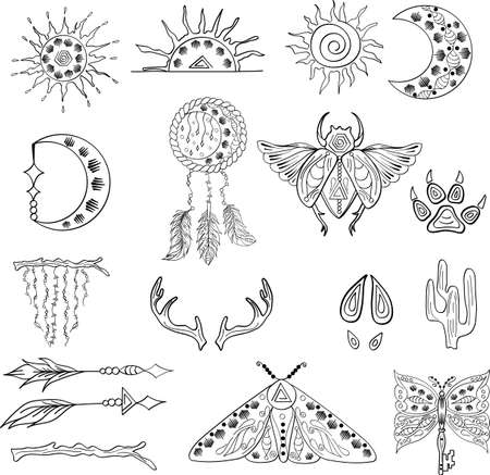 Outline hand drawn bohemian clipart for decoration with moon, sun, dream catcher. Boho chic of free spirit design with feather, arrow. Modern vector set of ethnic elements, indian object, symbol