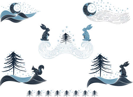 Winter wonderland clipart. Blue set of winter pre-made design with squirrel, hare, snow, tree, star, moon for decoration. Vector clipart, winter composition for greeting card, stationery, poster