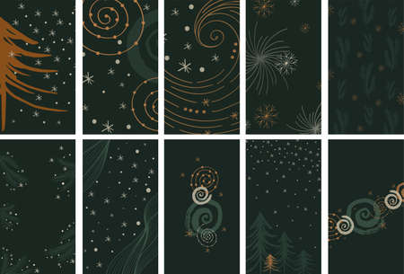 Christmas Social Media Stories Layout. Vector set of linear template in abstract style for womanly profile, social media, mobile app. Abstract modern winter stories with snowflake, christmas tree