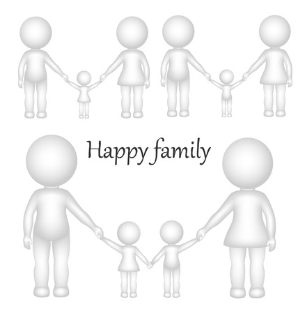 two children: Three-dimensional vector figures happy family, children and parents