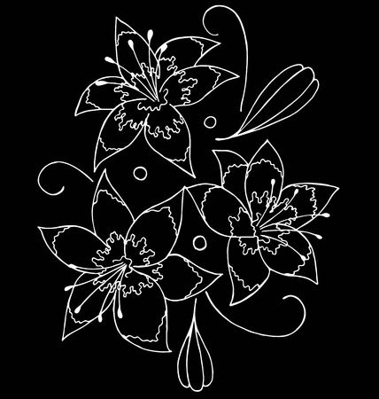 Lilies drawing by hand- vector illustration