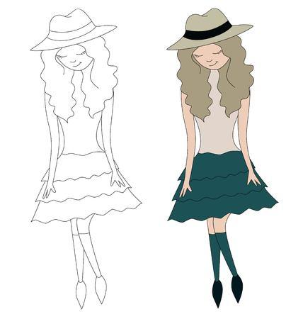 Girl in hat vector illustration of a stick figurine Illustration