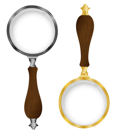 Magnifying glass transparent silver gold