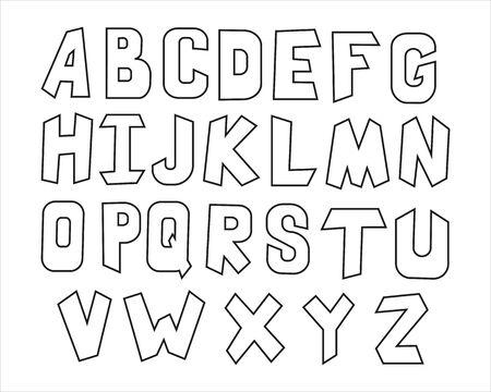 Black and white children alphabet, linear style - vector illustration EPS 8