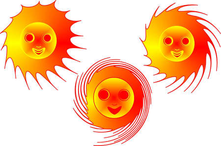 Three sun of fiery color in movement Illustration