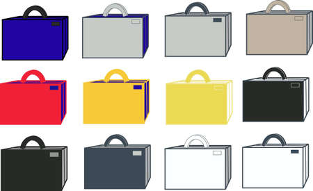 group of suitcases of different flowers Illustration