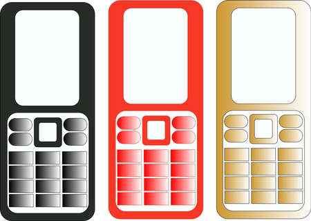 three vector cell phones of different color