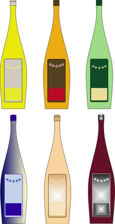 six vector bottles of cognac of different flowers Illustration